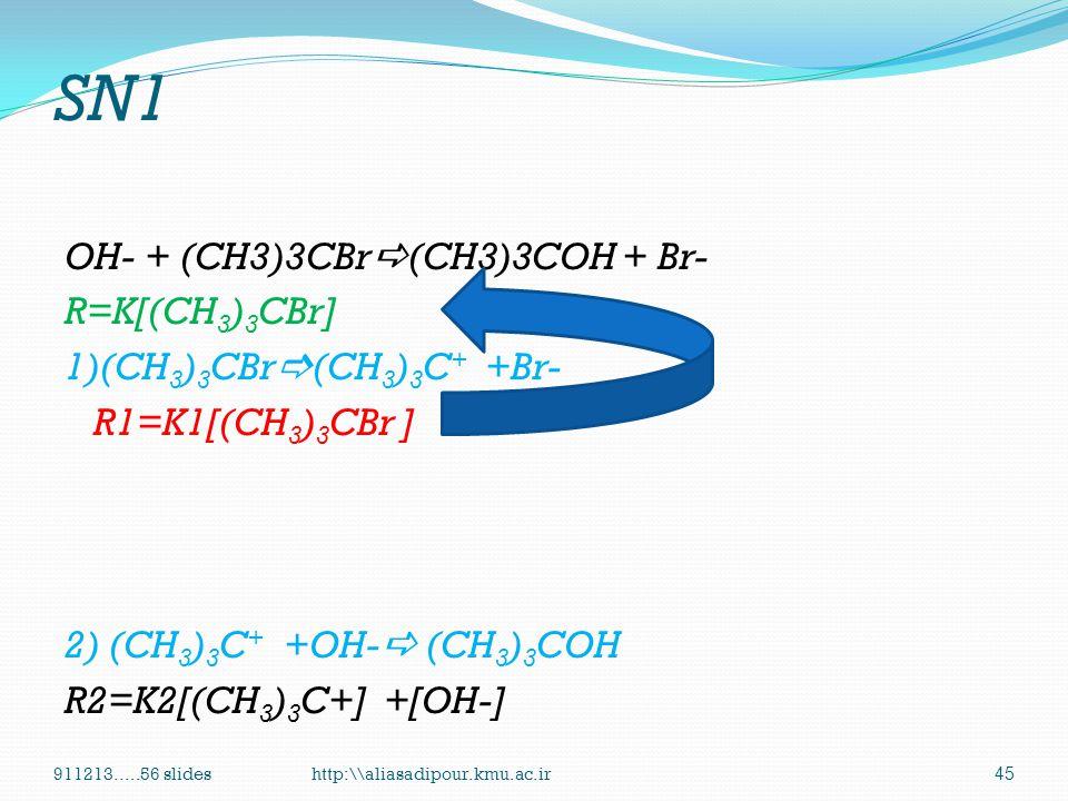 SN1 OH- + (CH3)3CBr(CH3)3COH + Br- R=K[(CH3)3CBr] 1)(CH3)3CBr(CH3)3C+ +Br- R1=K1[(CH3)3CBr ] 2) (CH3)3C+ +OH- (CH3)3COH R2=K2[(CH3)3C+] +[OH-]